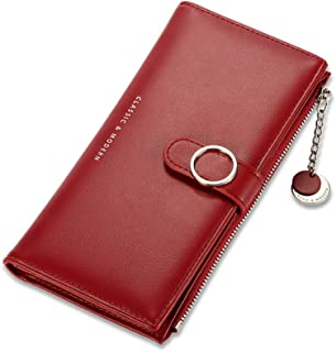Slim Fashion Long Wallet RFID Blocking Wallet Leather Clutch Phone Bag Lady Purse Handbag Zipper Wristlet Pendant Cellphon...