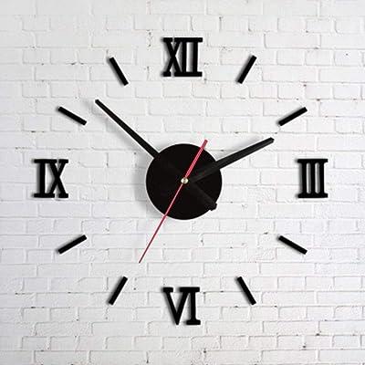 FidgetFidget Modern DIY Interior Roman Wall Clock 3D Sticker Home Mirror Effect