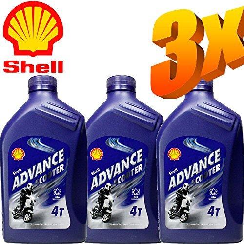 3X Latte di Olio Shell Advance Scooter 5W40 Lt. 1 - Professional Totalmente Sintetico