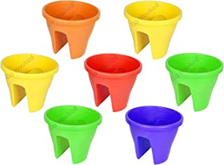 Go Hooked Plastic Railing Flower Pot, Multicolour, 12 inch, 7 Pieces