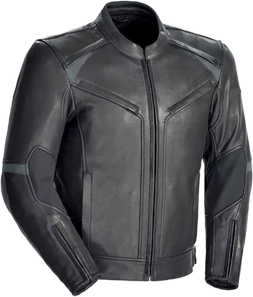 SleekHides Men's Motorcycle Real Leather Jacket CE Armor Internal Protection
