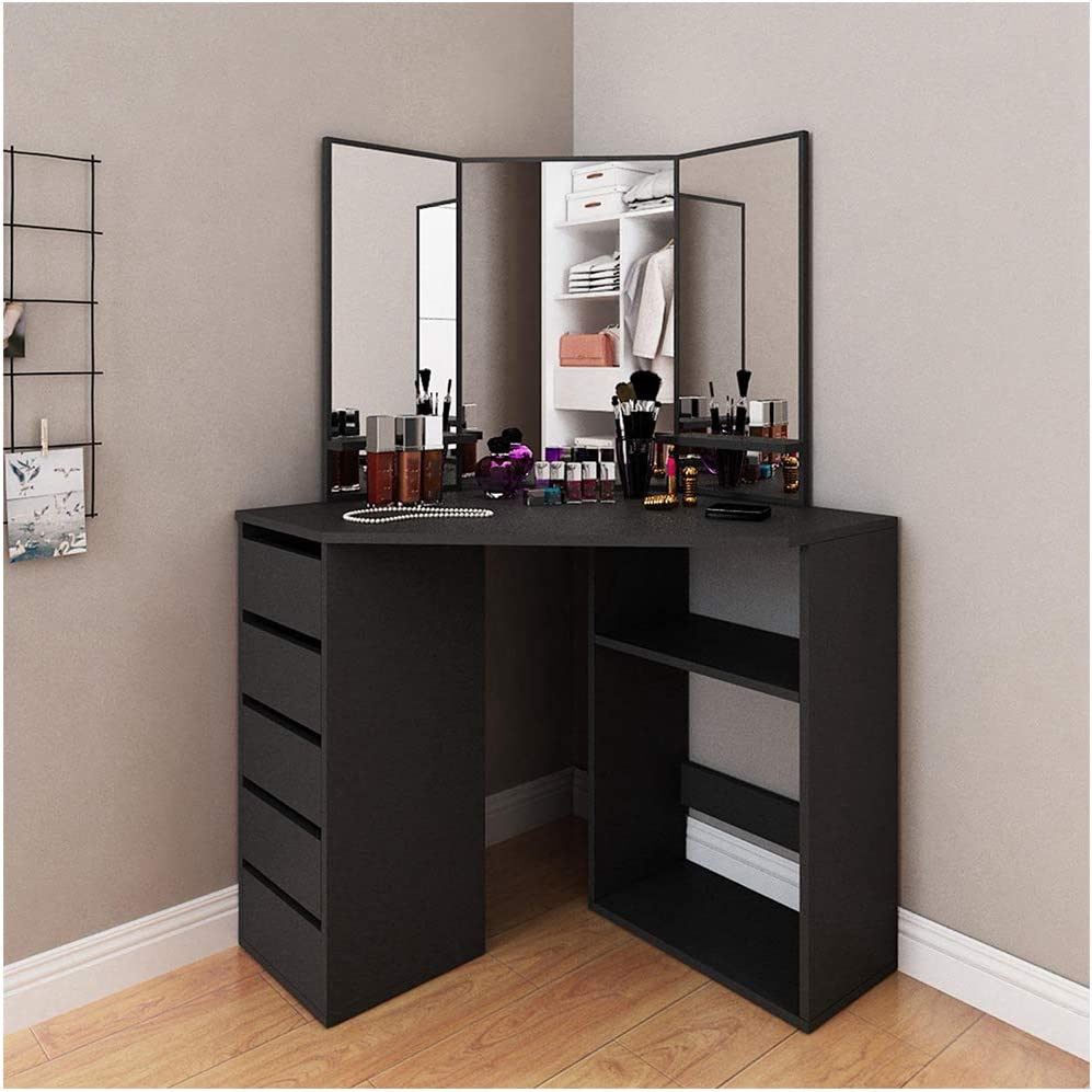Jungaha Makeup Vanity Table with 3-Panel Mirror Wood Make Up Vanity Dressing Table with Shelves 4 Storage Drawers Corner Dresser Desk Dressing Furniture for Bedroom Bathroom (Black)