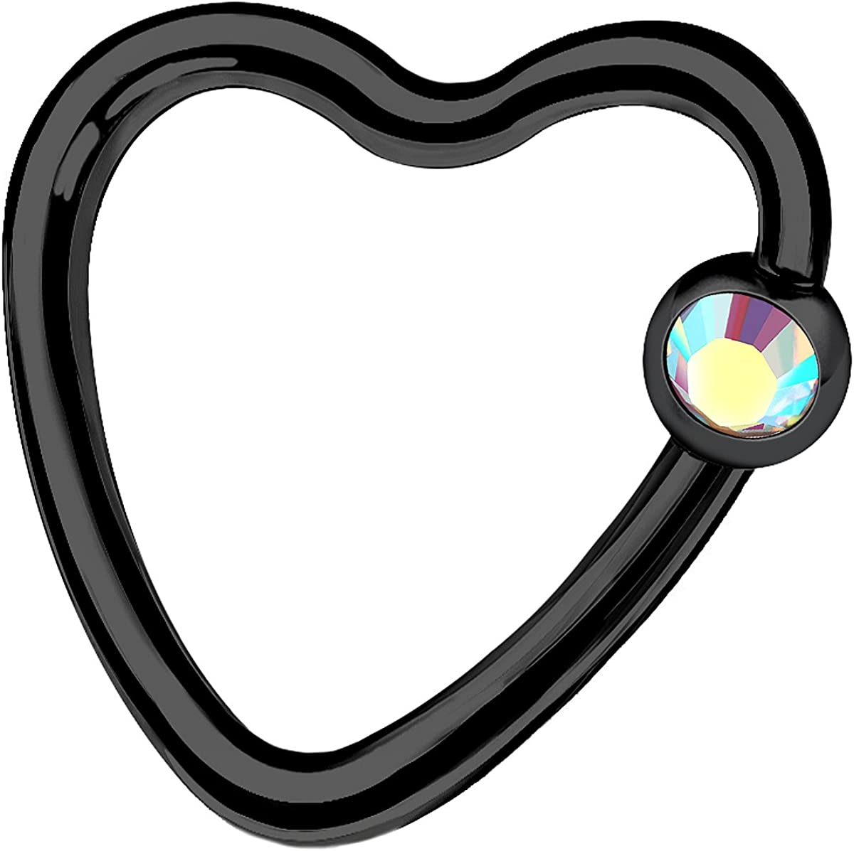 MATIGA Black Anodized Heart 16g 3/8 10mm Captive Bead Ring Piercing Jewelry Tragus Septum Eyebrow Cartilage 3mm Crystal More Choices