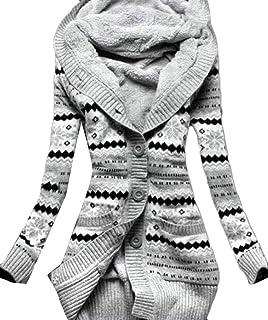 Domple - Chamarra de Punto para Mujer, Forro Polar, cálida, con Capucha