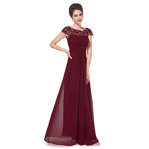 Ever-Pretty Womens Cap Sleeve Lace Neckline Ruched Bust Evening Gown 09993 c9e22e467381