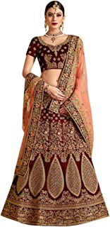 Designer Heavy Embroidered Marron Velvet Wedding Lehenga Choli for Bridal Women Indian Reception dress 7536