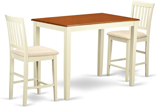 East West Furniture YAVN3 WHI C 3 Piece Counter Height Pub Table And 2 Kitchen Chairs Set