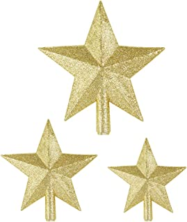 Pllieay 3 Pieces 3 Sizes Glittered Gold Star Christmas Tree Topper Star Treetop for Christmas Tree Decoration or Home Decor