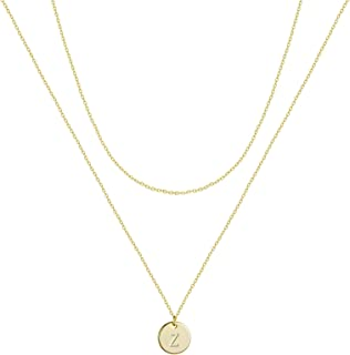Kyerlyn Layered Initial Necklace 14K Gold Plated Dainty Round Disc Engraved Name Personalized Alphabet Pendant Choker Neck...