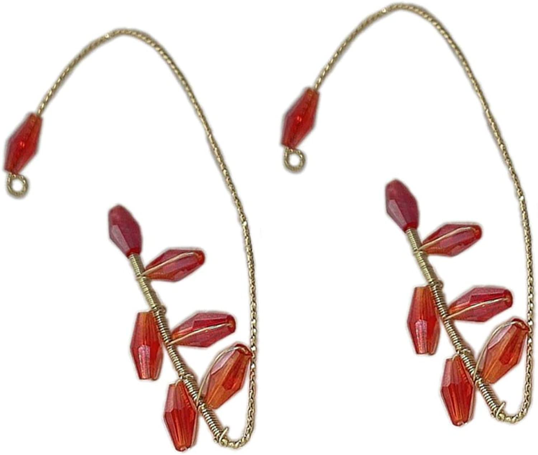 1-2Pcs Classy Beaded Non Pierced Ear Clip Handmade Lightweight Beads Winding Wrap Charm Cuff Earrings Without Piercing Ear Clips Jewelry for Women Girls