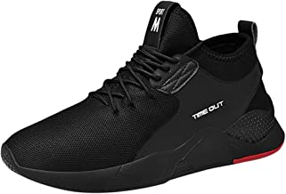 JJLIKER Men's Trail Running Shoes Lightweight Breathable Comfort Fashion Sneakers Youth Big Boys Tennis Shoes White Black