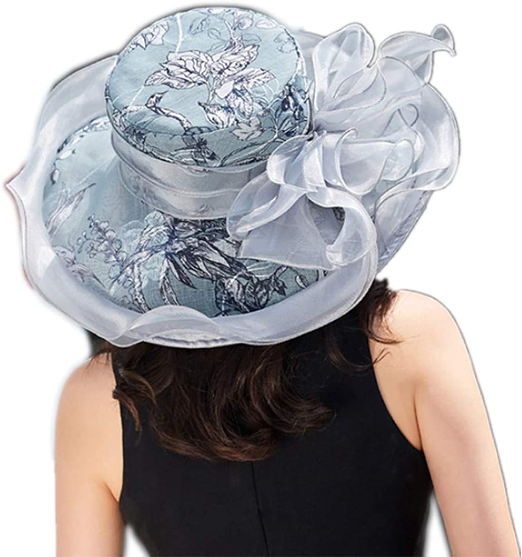 YSJOY Women's Silk Flower Organza Sun Hat Kentucky Wedding Hat
