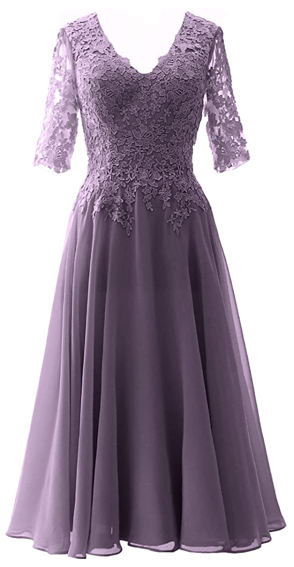 MACloth Women V Neck Wedding Party Formal Gown Mother of Bride Dress with Sleeve