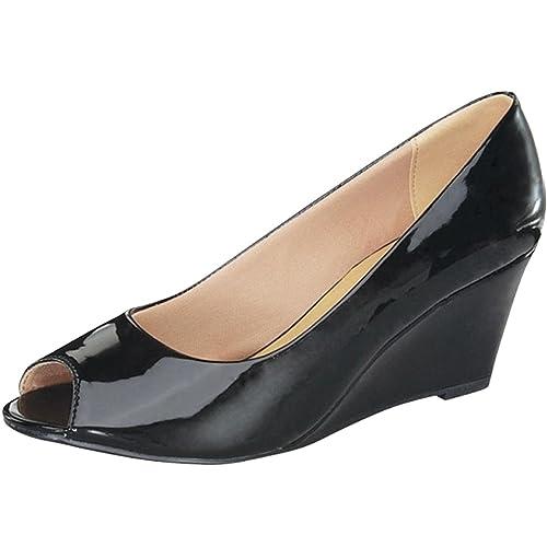 4504b6844779b Women's Black Patent Leather Peep Toe Pumps: Amazon.com