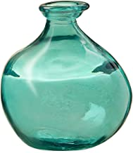 Bubble Recycled Glass Balloon Vase, 6.25 Dia x 7 H - Aqua