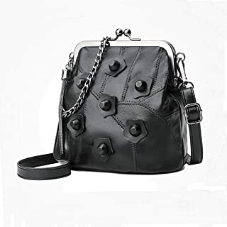 Fashion Leather Handbags Shoulder Bag Wild Stitching Sheepskin Messenger Bag Rivet (Color : Black)