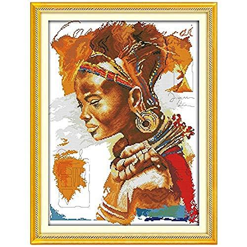 Kits de punto de cruz Los patrones de la mujer africana Puntada cruzada contada 11CT Conjuntos de punto de cruz Kits de punto de cruz Bordado Costura Kits estampados