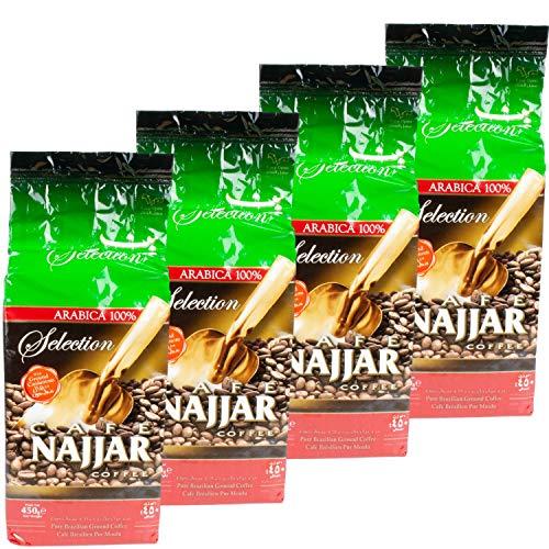Najjar - Arabischer Mokka Kaffee gemahlen mit Kardamom im 4er Set á 450 g Packung