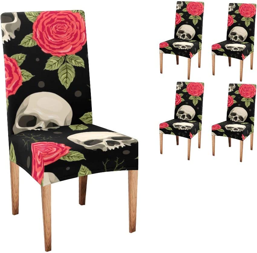 10%OFF CUXWEOT 大幅値下げランキング Chair Covers Protector Red Rose Comfort Skull Soft Seat
