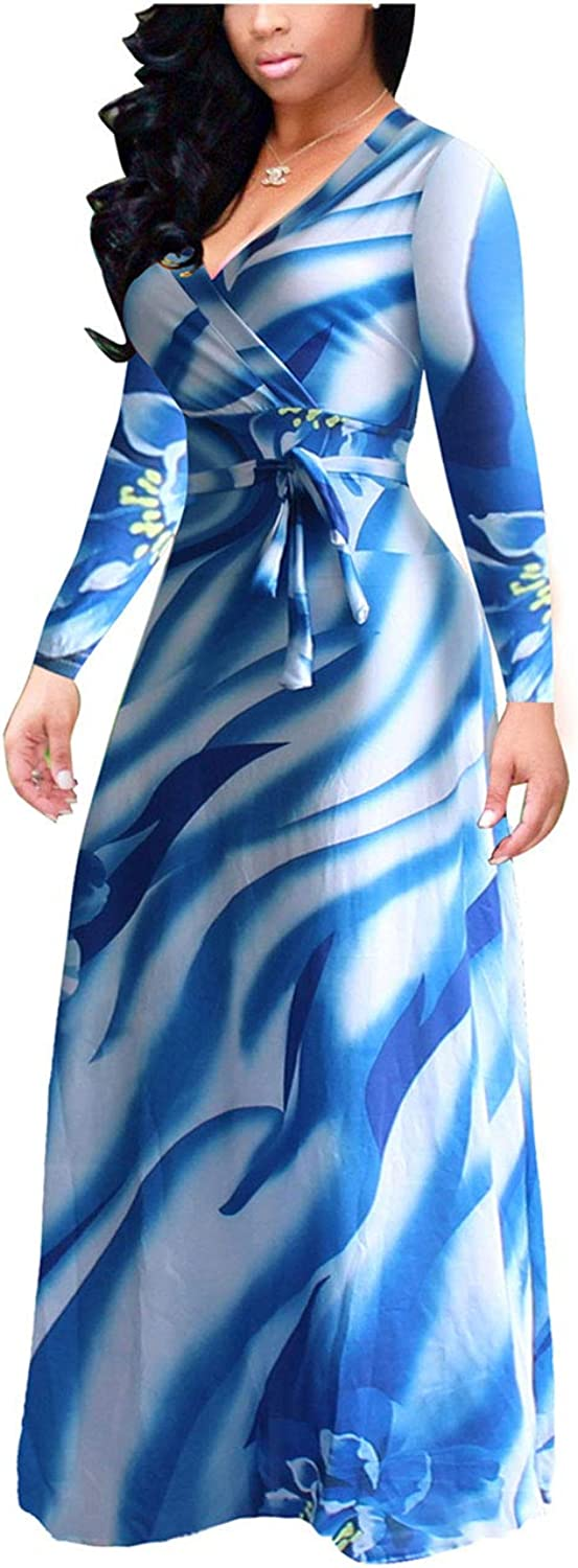 Akmipoem Women& 39;s Floral Print Wrap V Neck Long Sleeve Tie Waist Maxi Dress