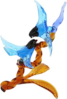 GlassOfVenice Murano Glass Birds on Golden Brown Branch - Blue