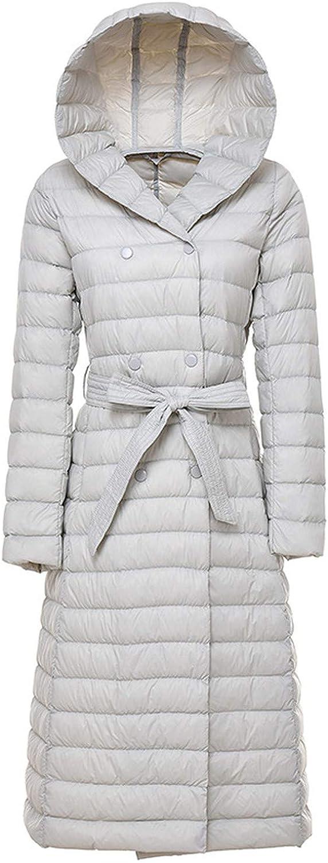Long Down Duck Down Jacket Winter Coat Woman Feather Warm Slim Windbreaker Hooded Outerwear