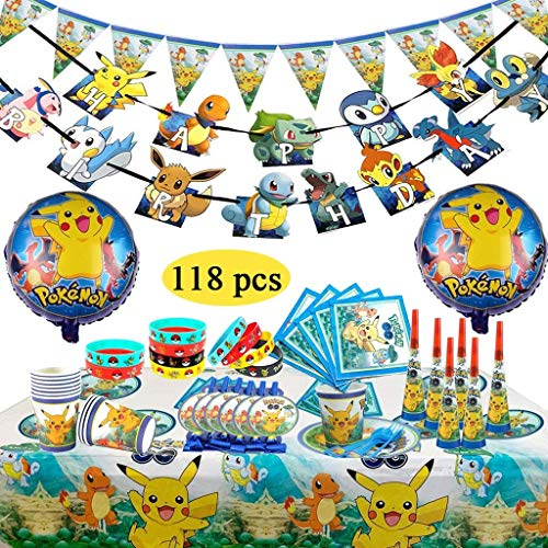 FGen Decoración para cumpleaños Fiesta,Decoración de la Fiesta de cumpleaños Infantil, Pulsera de Silicona para la celebración de Fiestas para 10 Invitados (118 Piezas)