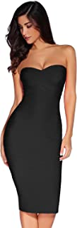 Women's Knee Strapless Bandage Bodycon Party Dress