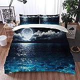 ETDWA Set copripiumino, Panorama romantico e panoramico con Luna piena sul Mare di Notte, Set copripiumino in Microfibra 135 x 200 cm con 2 federa 50 x 80 cm