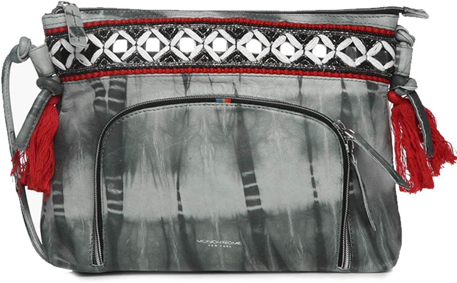 Handbags for Women tie & dye leather hand embroidered crossbody soft sling bag by Monokrome New York