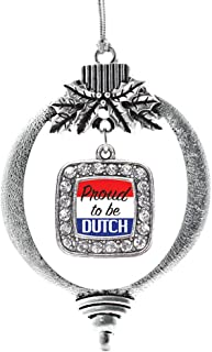 Best Inspired Silver - Proud to be Dutch Charm Ornament - Silver Square Charm Holiday Ornaments with Cubic Zirconia Jewelry Review