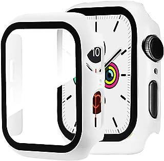 Miimall kompatybilne z Apple Watch Series 6/SE/5/4 44 mm etui ochronne PC ze szkłem pancernym, ochrona wyświetlacza, ultra...