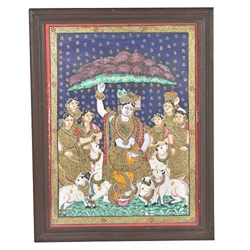 IndianShelf 1 Piece Handmade Multicolor Wooden Board Radha Krishna Wall Art Wall Hooks Hangers Holders