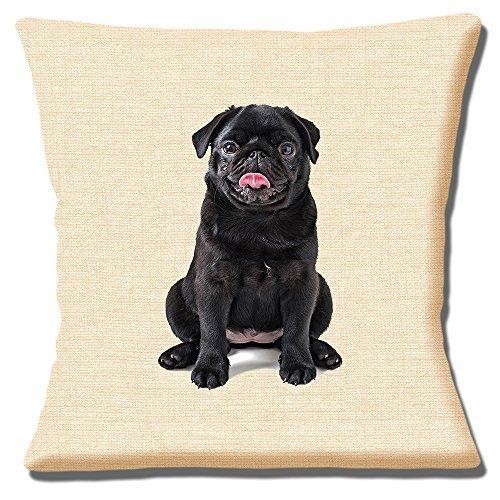Cushions Corner Funda de cojín de 40 cm, diseño de Cachorro de Carlino Negro con impresión de Foto en Color Beige
