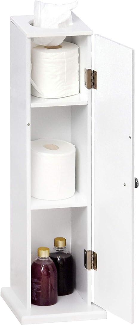 Amazon Com Homcom Small Bathroom Corner Floor Cabinet With Doors And Shelves Thin Toilet Paper Storage Bathroom Organizer For Paper Shampoo White Home Kitchen