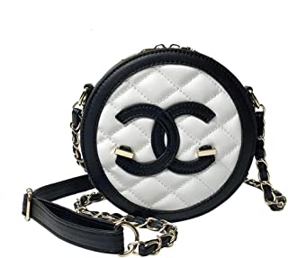 Kakapan Ladies Mini Round Shoulder Bag Belt Adjustable Chain PU Girls Women Check