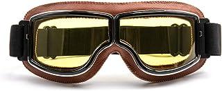 evomosa Motorradbrille Motorräder Retro Pilot Nebelsichere Brille ATV Bike Motocross Brille Schutzbrille   Gelbe Linse