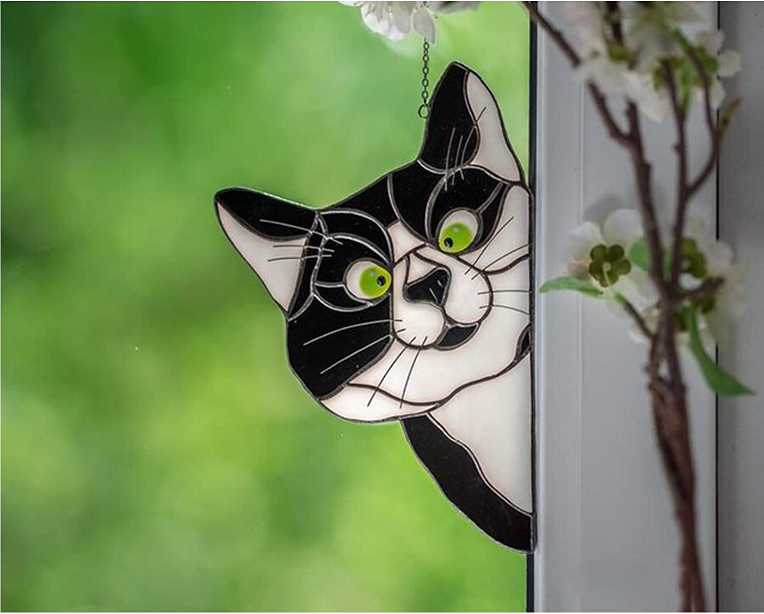 Cat Window Projection Pendant Peeking Cat Stained Glass Window Hangings A for Window Funny Cat Decor Stained Glass Cat Window Hanger