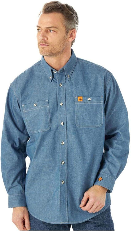 Wrangler Men's Fr Solid Blue Chambray Long Sleeve Button-Down Work Shirt Tall