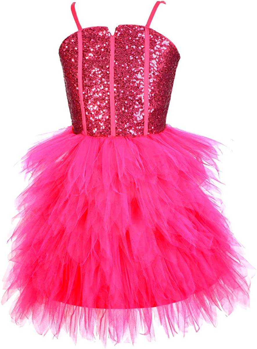Lito Angels Girls' Glitz Sequins Tulle Dresses Flower Girl Pageant Party Dress