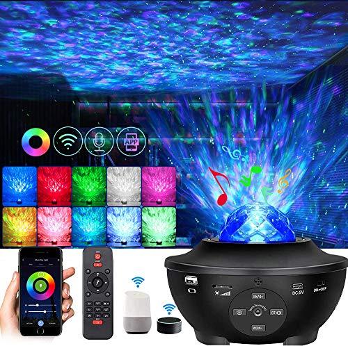 Smart LED Wifi Starry Projektor, Sternenhimmel Projektor, Galaxy Light Nachtlicht Kompatibel mit Alexa/Google Home, mit Fernbedienung Bluetooth Lautsprecher für Kinder Party und Weihnachten