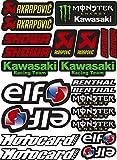 Akrapovic Elf Monster Kawasaki Showa - Pegatinas de vinilo con impresión laminada, protección UV y arañazos, hoja A4 (22 pegatinas)