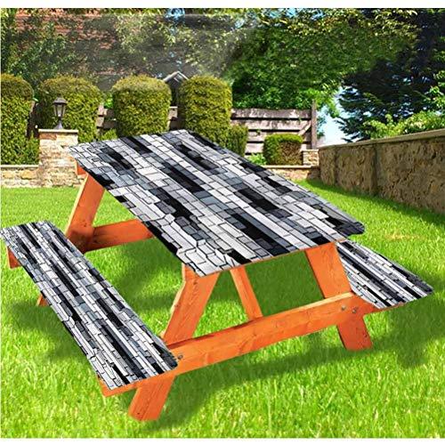 Mantel de mesa y banco de picnic abstracto, diseño geométrico cúbico con borde elástico, 70 x 72 pulgadas, juego de 3 piezas para camping, comedor, exterior, parque, patio