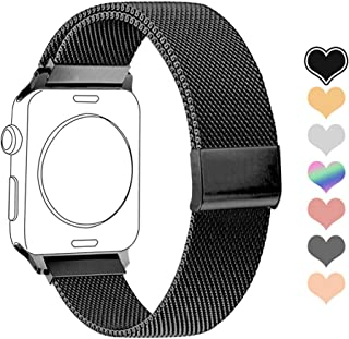 Letuboner Compatible for Apple Watch Band 38mm 42mm 40mm 44mm,Stainless Steel Mesh Magnetic Wristband Loop Replacement Bands for iWatch Series 4/3/2/1 (Black, 42/44mm)