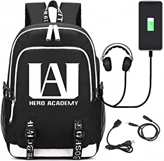 My Hero Academia Backpacks, Student School Bag Laptop Backpack with USB Charging Port and Headphone Ports