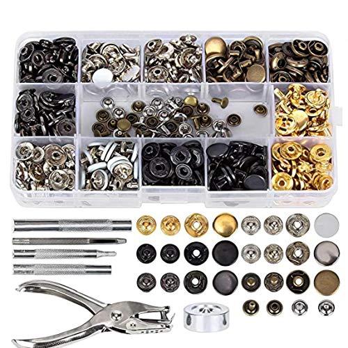 Aardich Conjunto de Metal Broche de presión del Remache DIY Herramienta Sujetador del Remache de fijación Kit de Herramientas Hombres Mujeres Reparaciones Decoración 286PCS