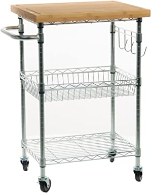 TRINITY EcoStorage Bamboo Kitchen Cart, Chrome