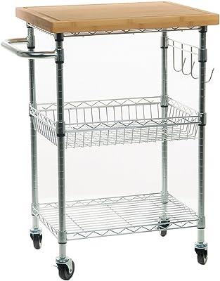 Trinity TBFZ-1401 EcoStorage Bamboo Kitchen Cart, Chrome