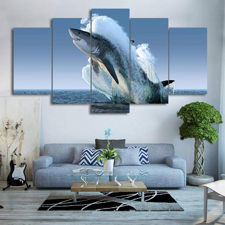 Lcyab Decoración De Parojomoderno HD Impreso Arte De La Parojo Lienzo Fotos 5 Unidades Superficie del Mar Animal Salto Tiburón blancoo para La Sala De Estar Pintura Cartel