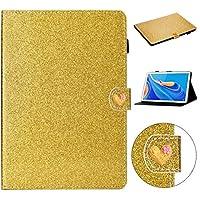KMLPJP グリッターパウダーラブバックル水平ホルダー&カードスロット付きフリップレザーケース (Color : Gold)